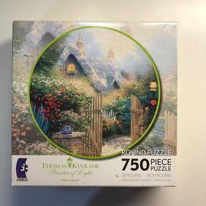 NEW Thomas Kinkade Hidden Cottage II round puzzle